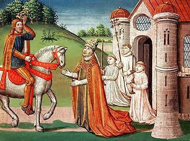 Carlomagno acude en defensa del Papa Adriano I frente a los lombardos