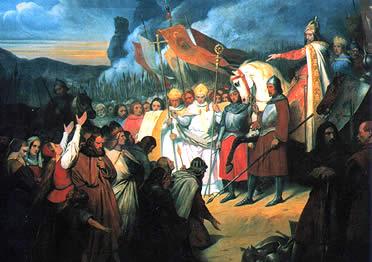 Carlomagno logra la pacificación de los sajones y su compromiso a cristianizarse