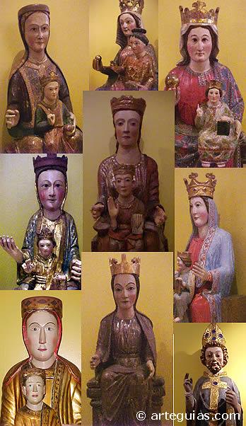 Algunas de las imágenes medievales en madera que se exhiben en el Museo Catedralicio