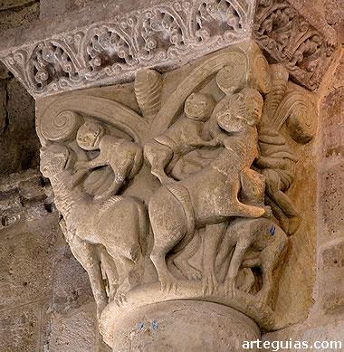 Capitel interior con leones