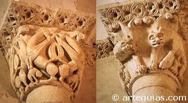 Capiteles interiores de la iglesia de Caballar. Segovia