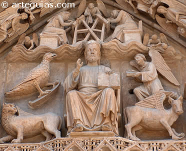 Pantocrator y Tetramorfos de la Puerta del Sarmental. Catedral de Burgos