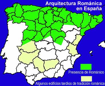 Mapa de la Arquitectura románica en España