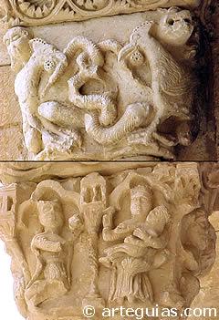 Capiteles del pórtico de la iglesia de Sotosalbos. Segovia