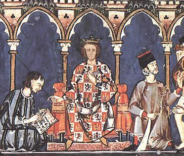 Alfonso X en una ilustración de las Cantigas de Santa María