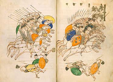 Lámina doble de una de las numerosas copias medievales del Tratado Re Militari