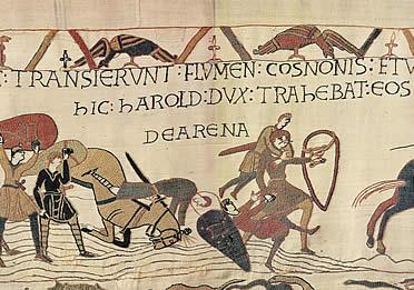 Tapiz de Bayeux. Los cruentos combates cuerpo a cuerpo caracterizaron la guerras en la Edad Media