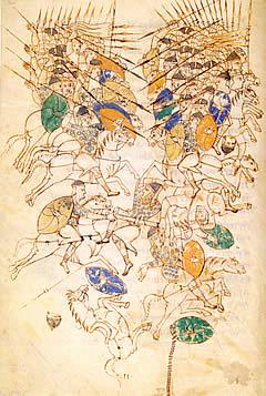 Otra de las láminas de una copia medieval del Tratado de Vegecio