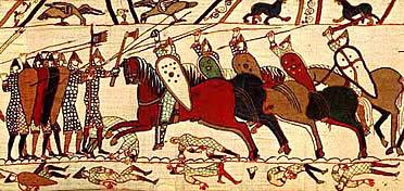 Caballería contra infantería. Tapiz de Bayeux