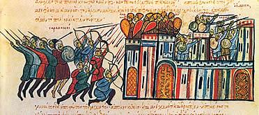 Arqueros del ejército bizantino como avanzadilla en la Toma de Edessa