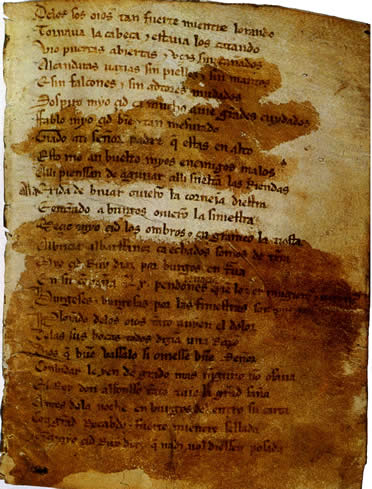 Literatura medieval en España: Página del Mio Cid