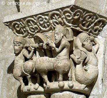 Capitel con centauros y sirena. San Claudio de Olivares, Zamora