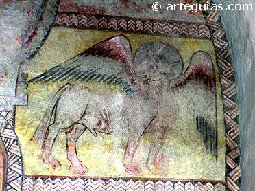 Símbolo de San Lucas en el interior de la iglesia de Sotosalbos
