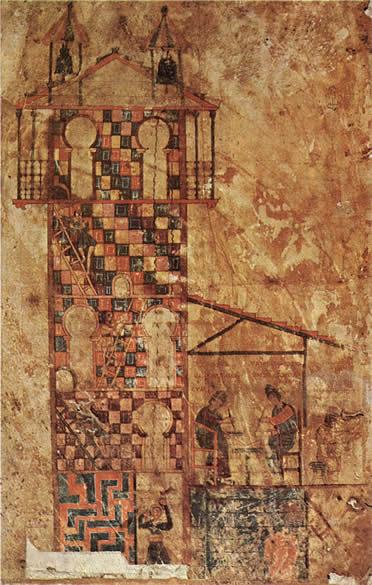 Torre de Tabara y dos monjes trabajando en un códice
