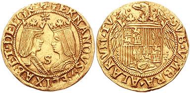 "Doble castellano ""Excelente"" de oro. Reyes Católicos"