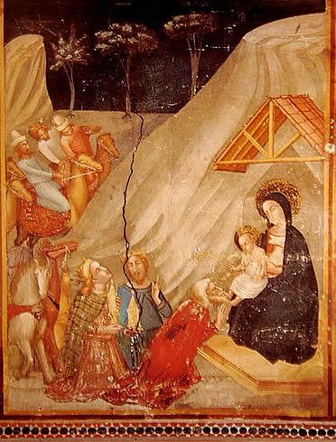 Capilla de Sant Miquel: escena de la Adoración de los Magos (Ferrer Bassa)