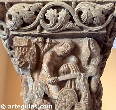 Capitel del claustro de Santa María la Real de Aguilar de Campoo. Museo Arqueológico Nacional