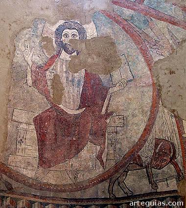 Fragmento de la pintura mural del ábside la iglesia de San Andrés de Yaso