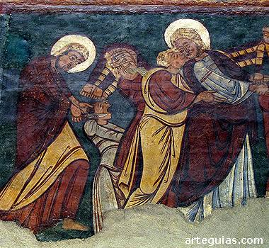 Traición de Judas. Pintura mural de Bagüés, actualmente en el Museo Diocesano de Jaca